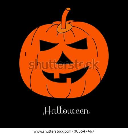 Image of pumpkins, jack-o'-lantern, Jack, halloween, orange pumpkin on a black background - stock vector