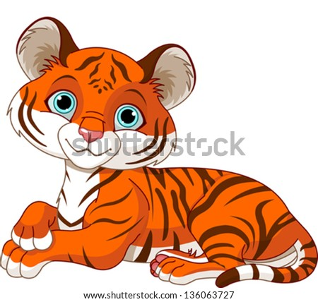 Image of resting little tiger cub - stock vector