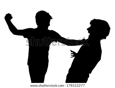 Image of Teen Boys In Fist Fight Silhouette - stock vector