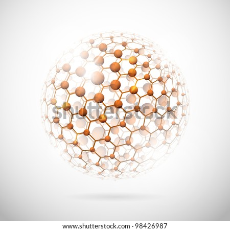 Image of the molecular structure in the form of a sphere. Eps 10 - stock vector