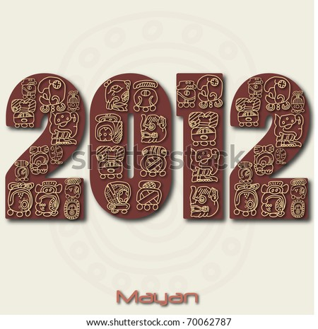 Image of the year 2012 with Mayan ruins isolated on a white background. - stock vector