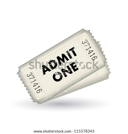 Image of two admit one tickets isolated on a white background. - stock vector