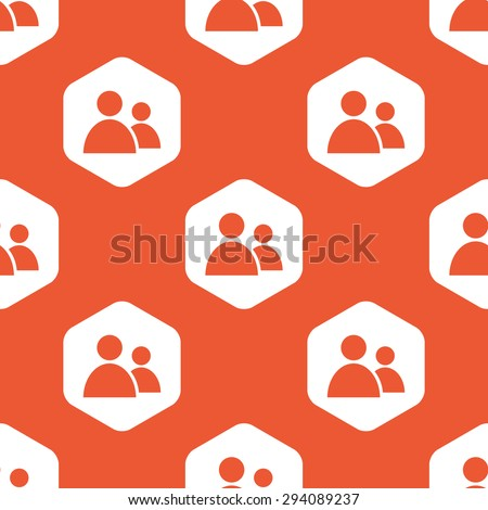 Image of two user icons in white hexagon, repeated on orange background - stock vector