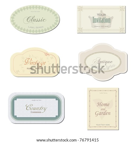 Image of various antique labels isolated on a white background. - stock vector