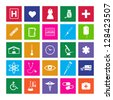 Image of various colorful medical metro icons isolated on a white background. - stock vector