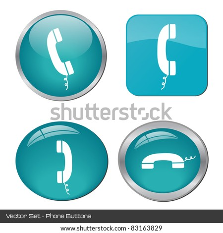 Image of various colorful phone buttons isolated on a white background. - stock vector