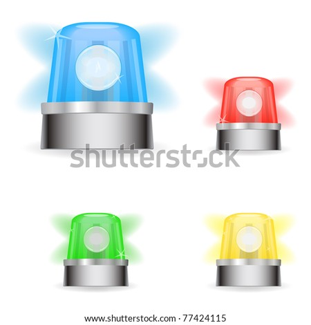Image of various colorful responder lights isolated on a white background. - stock vector