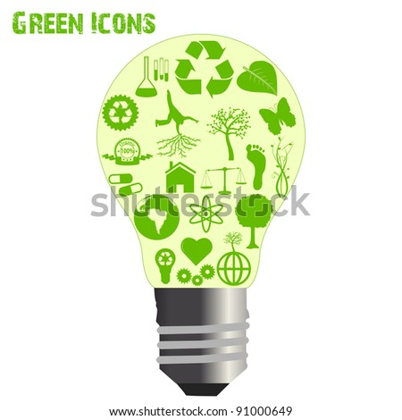 Image of various eco-friendly icons inside of a light bulb isolated on a white background. - stock vector