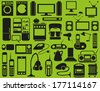 Image of various household appliances icons on a green background. - stock vector