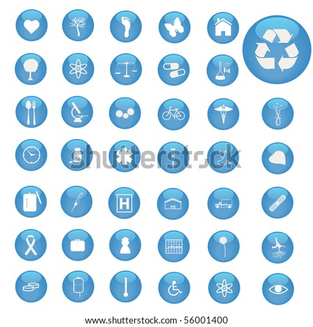 Image of various icons on blue buttons. - stock vector