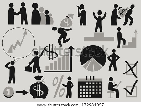 Image of various icons themed business. The stylized image of people in the business. - stock vector