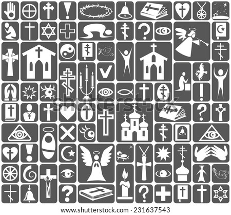 Image of white icons on gray background on the topic Religion - stock vector