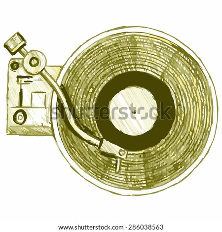 Image turntable. Musical equipment - stock vector