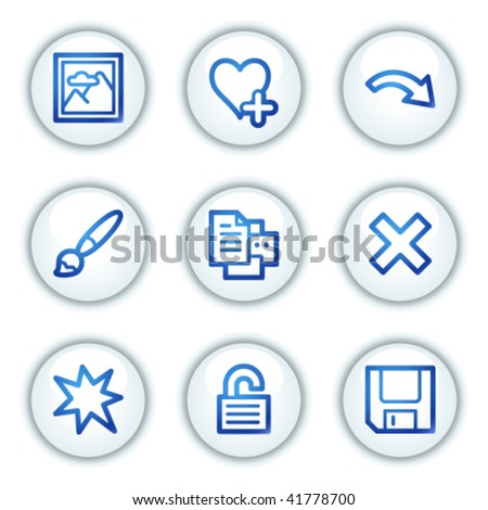 Image viever web icons set 2, white circle buttons series - stock vector