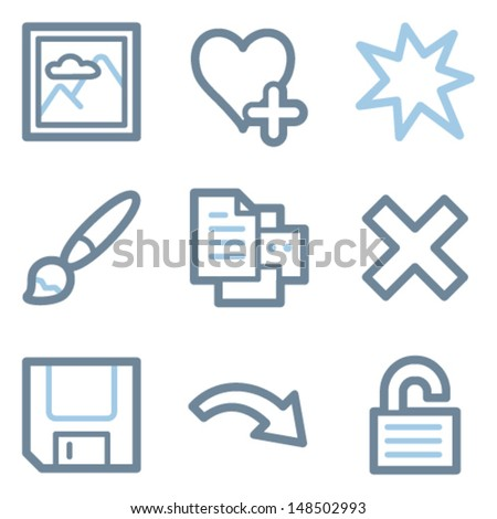 Image viewer icons, blue line contour series - stock vector