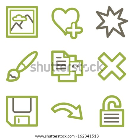 Image viewer icons, green line contour series - stock vector