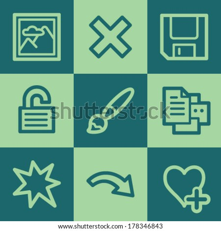 Image viewer web icon set 2, green square buttons set - stock vector