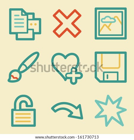 Image viewer web icons, retro colors - stock vector