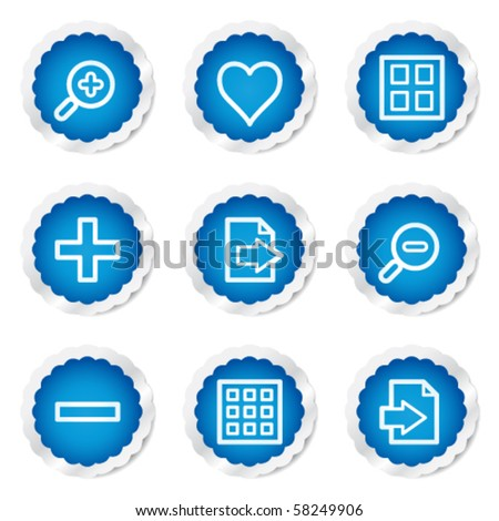 Image viewer web icons set 1, blue stickers series - stock vector