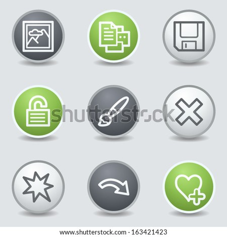 Image viewer web icons set 2, circle buttons - stock vector