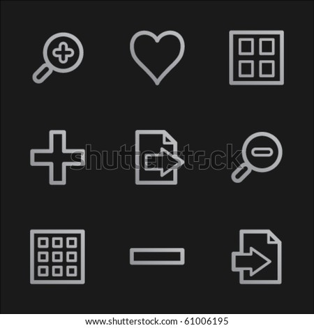 Image viewer web icons set 1, grey mobile style - stock vector