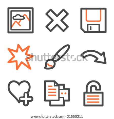 Image viewer web icons set 2, orange and gray contour series - stock vector