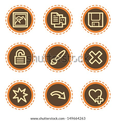 Image viewer web icons set 2, vintage buttons - stock vector
