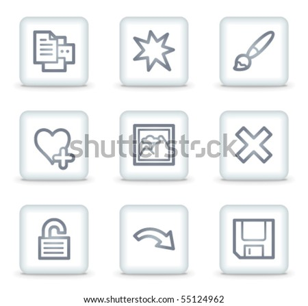 Image viewer web icons set 2, white square buttons - stock vector