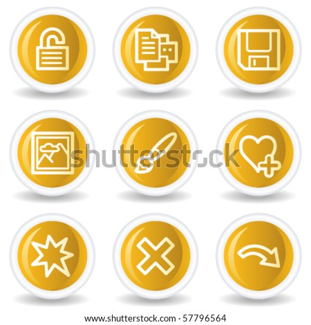 Image viewer web icons set 2, yellow glossy circle buttons - stock vector