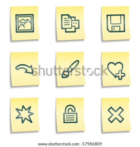 Image viewer web icons set 1, yellow notes series - stock vector