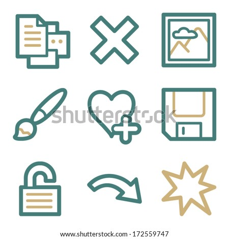 Image viewer web icons, two color series - stock vector