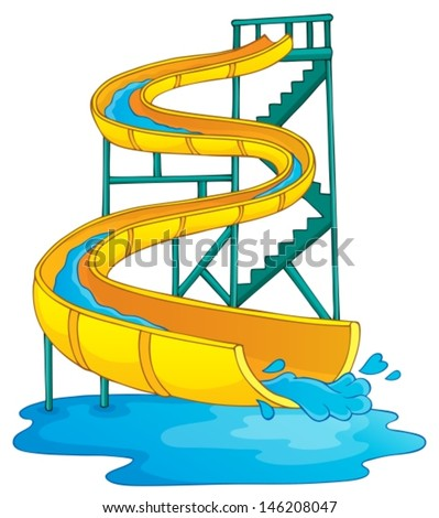 Image with aquapark theme 2 - eps10 vector illustration. - stock vector