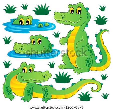 Image with crocodile theme 3 - vector illustration. - stock vector