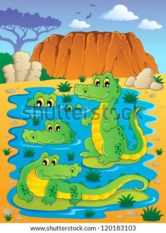 Image with crocodile theme 4 - vector illustration. - stock vector