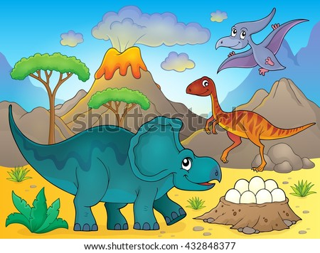 Image with dinosaur thematics 3 - eps10 vector illustration. - stock vector