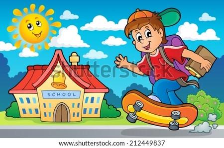Image with school boy theme 2 - eps10 vector illustration. - stock vector