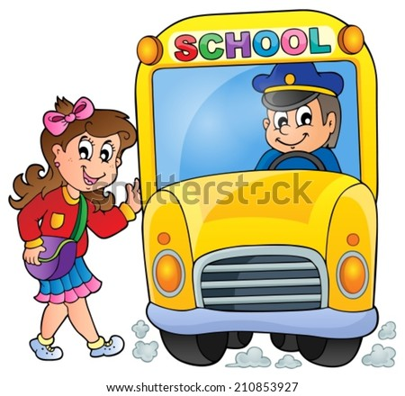 Image with school bus theme 7 - eps10 vector illustration. - stock vector