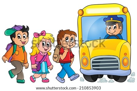 Image with school bus topic 1 - eps10 vector illustration. - stock vector