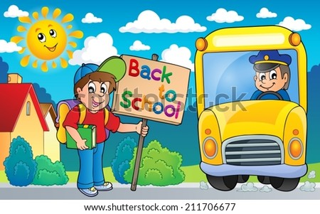 Image with school bus topic 6 - eps10 vector illustration. - stock vector