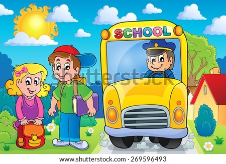 Image with school bus topic 7 - eps10 vector illustration. - stock vector