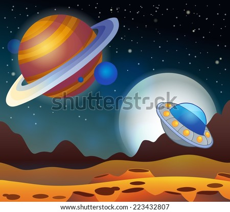 Image with space theme 2 - eps10 vector illustration. - stock vector