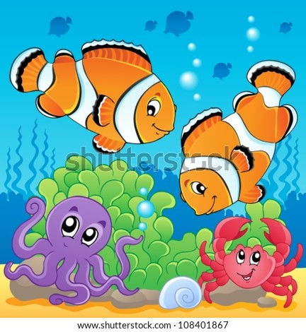 Image with undersea theme 4 - vector illustration. - stock vector