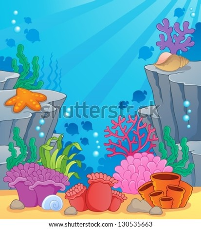 Image with undersea topic 3 - vector illustration. - stock vector