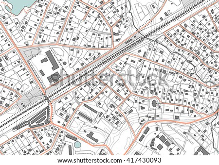 Imaginary plan a residential area of private housing - stock vector