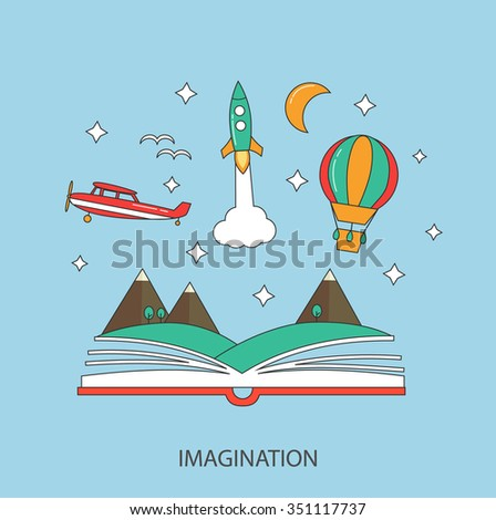 Imagination concept in linear style with opened book, rocket, stars, plane, hot air balloon, landscape, vector illustration - stock vector