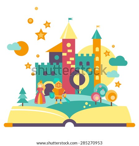 Imagination concept, open book, fairy-tale characters , the castle . Flat style vector - stock vector