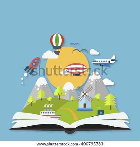 Imagination concept open book with rocket  and clouds - stock vector