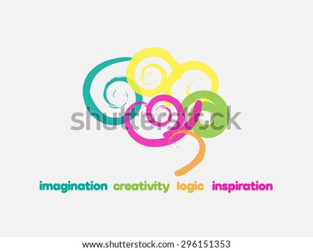 Imagination Creativity Logic Inspiration - Logo for a  training program, a  psychology/ pedagogy course, an educational toys brand, an arts training program, a therapist, a trainer etc - stock vector