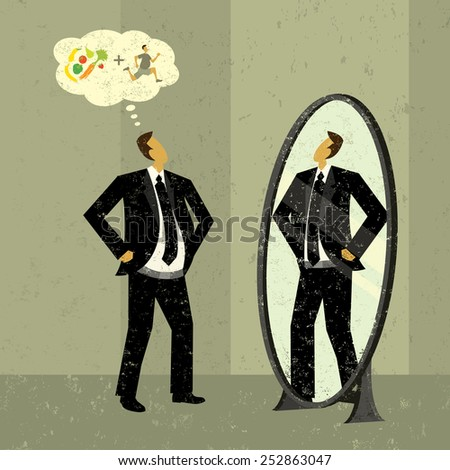 Imagining a slimmer figure A man looks into a mirror and sees the slimmer version of himself that he can achieve with diet and exercise.  - stock vector