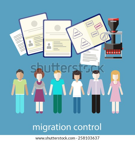 Immigration concept in flat design. Migration control. A group of people with stamps in passports on customs  - stock vector